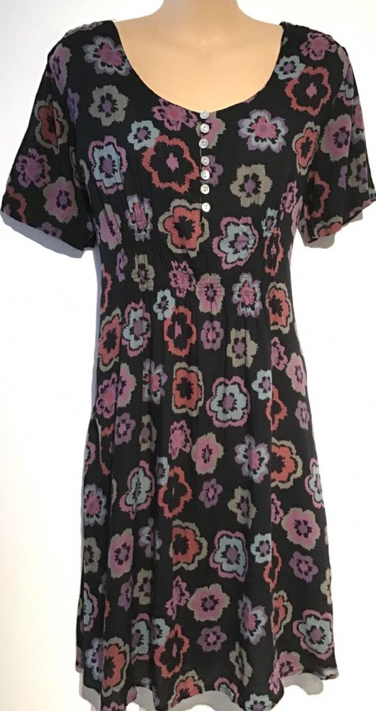 WHITE STUFF BLACK PRINTED BUTTON FRONT TUNIC DRESS/TOP SIZE 12